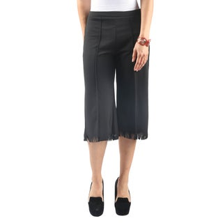 Hadari Women'sElastic Waist Wide Leg with Fringe Casual Work Pants