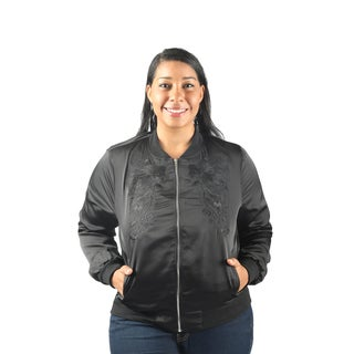 Hadari Women's Plus Size Long Sleeve Frontal Zip Bomber Jacket with Front Pockets