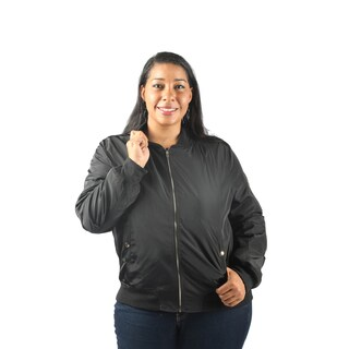 Hadari Women's Plus Size Long Sleeve Frontal Zip Bomber Jacket with Front Pockets (2 options available)