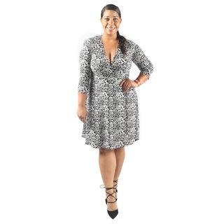 Hadari Women's Plus Size Mid Length Sleeve V-Neck Semi Formal Dress