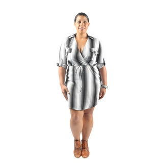 Hadari Women's Plus Size Mid Length Sleeve Collared Shirt Dress