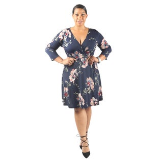 Hadari Women's Plus Size Mid Length Sleeve V-Neck Semi Formal Floral Dress