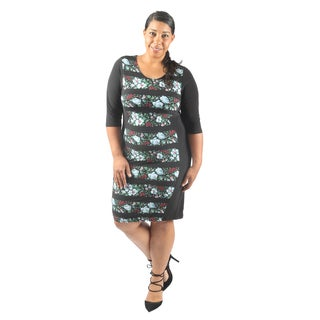 Hadari Women's Plus Size Short Sleeve Scoop Neck Bodycon Midi Semi Formal Dress