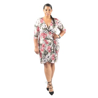 Hadari Women's Plus Size 3/4 Sleeve Plunging V-Neck Party Dress with Side Slit