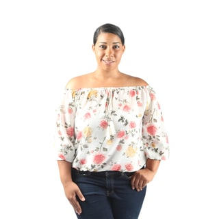Hadari Women's Plus Size Long Sleeve Off the Shoulder Floral Blouse with drawstring neckline elastic waistline and ankle cuffs