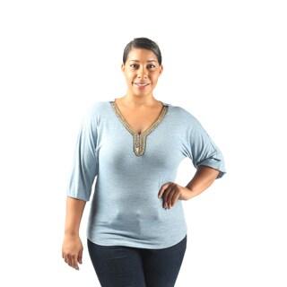 Hadari Women's Plus Size Mid Length Sleeve V-Neck Casual Blouse