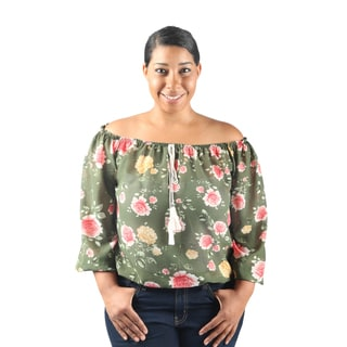 Hadari Women's Plus Size 3/4 Sleeve Off the Shoulder Floral Blouse with drawstring neckline and elastic waistline