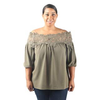 Hadari Women's Plus Size Off the Shoulder Mid Length Sleeve Casual Party Blouse with Sheer Strap