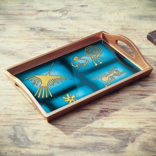 Handmade Reverse Painted Glass 'Nazca in Blue' Tray (Peru)