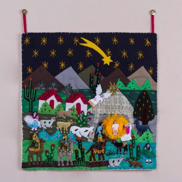 Handmade Cotton Acrylic 'Christmas Star Nativity' Applique Wall Hanging (Peru). Opens flyout.