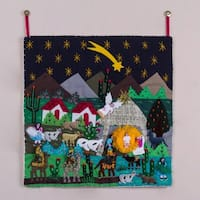 Handmade Cotton Acrylic 'Christmas Star Nativity' Applique Wall Hanging (Peru)