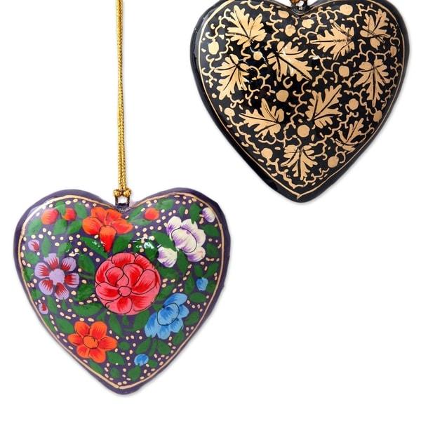 Papier Mache Season of Love Ornaments Set of 4