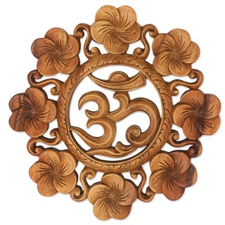 Handcrafted Suar Wood 'Blooming Om' Wall Relief (Indonesia)