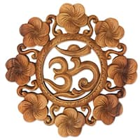 Handmade Suar Wood 'Blooming Om' Wall Relief (Indonesia)