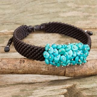Handmade Sterling Silver 'Cranberry Chic' Reconstituted Turquoise Bracelet (Thailand)