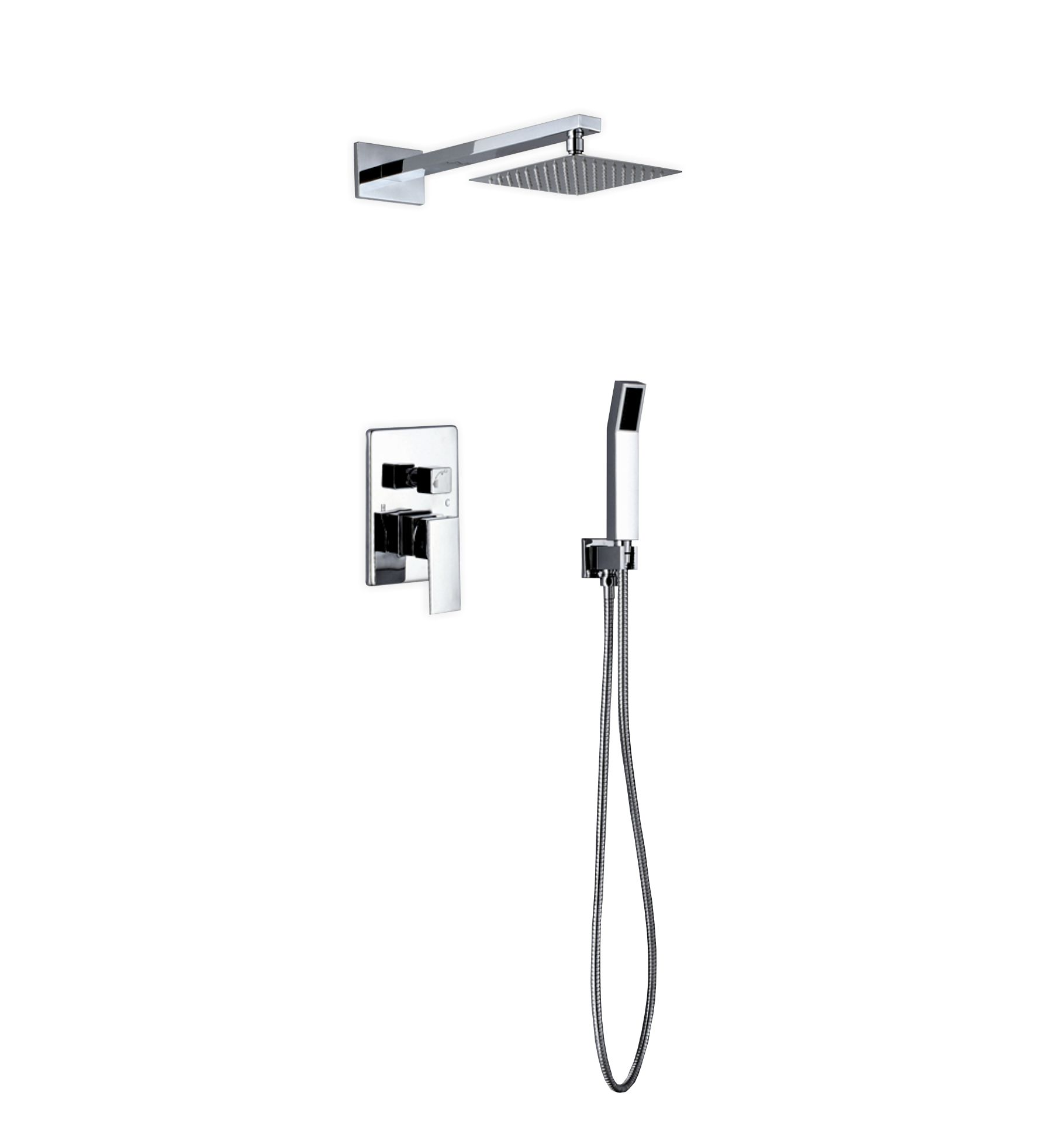 Aqua Piazza Brass Shower Set with 8-inch Square Rain Shower and Handheld