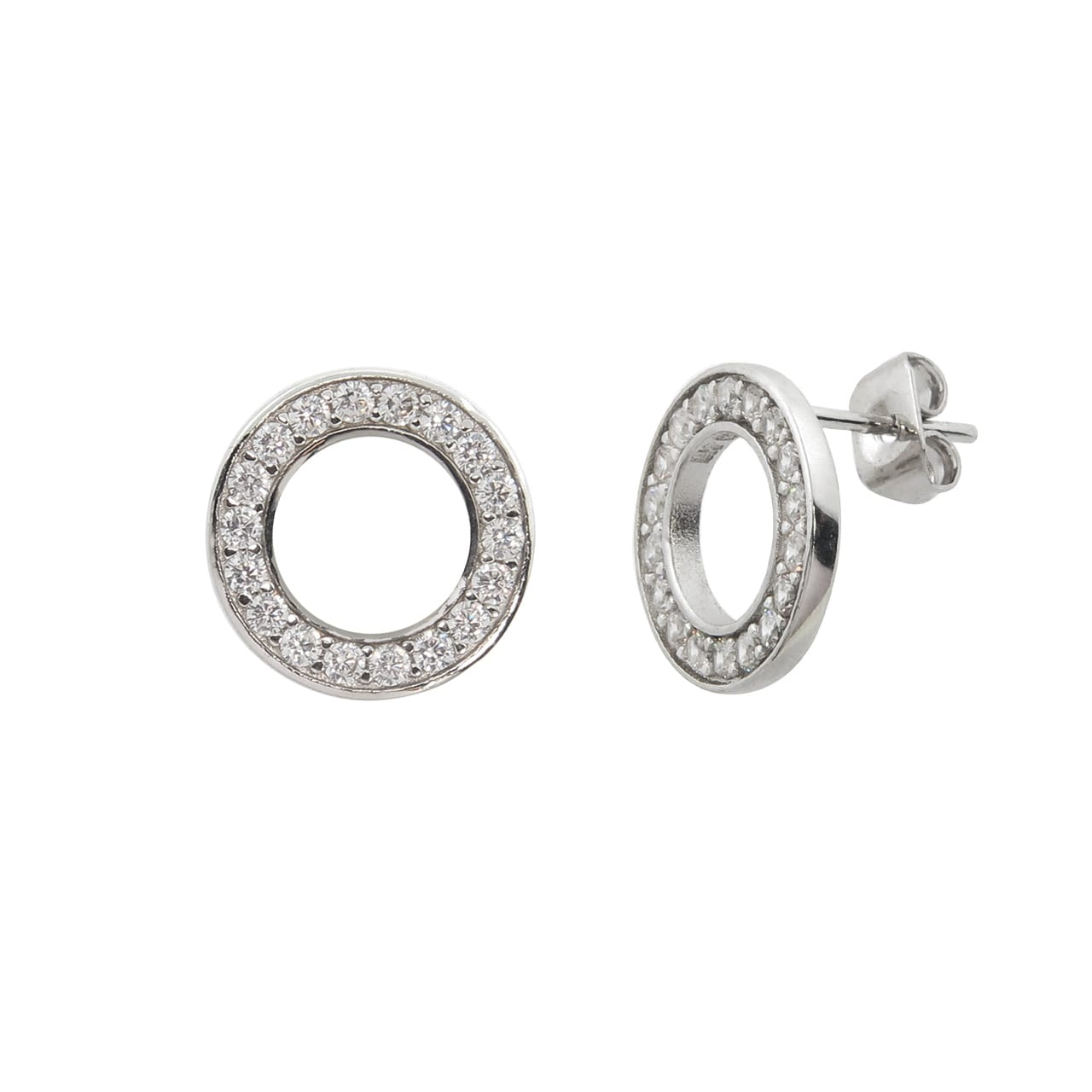 Eternally Haute Brass and Cubic Zirconia Pave Circle Stud Earrings
