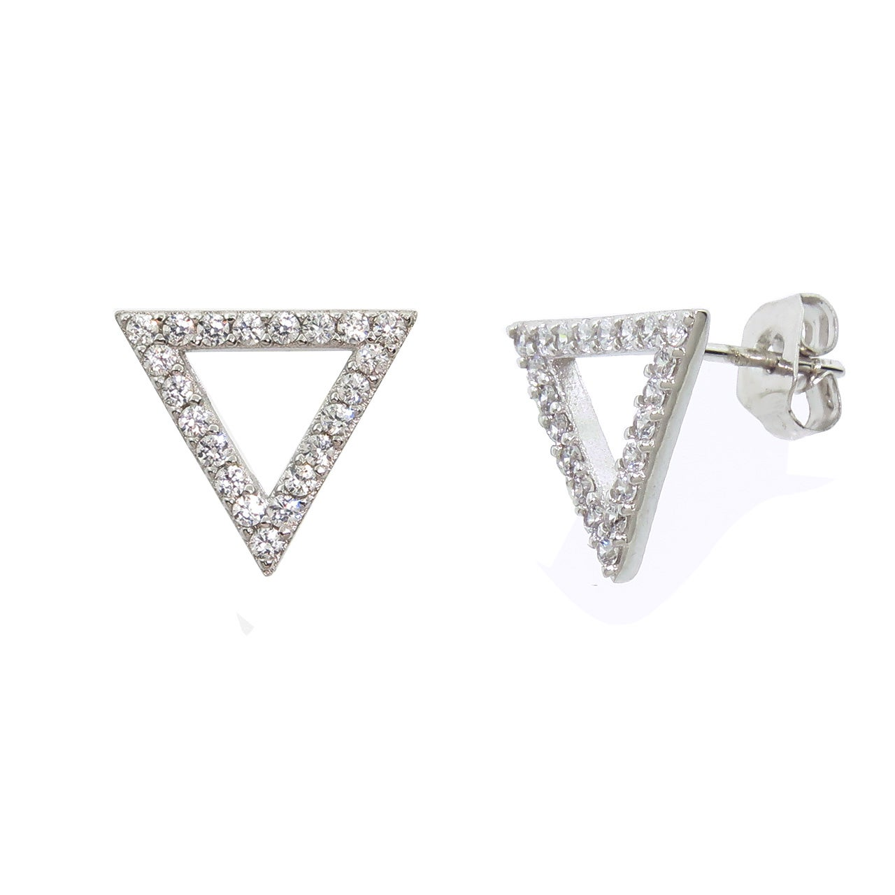 Eternally Haute Pave Triangle Stud Earrings