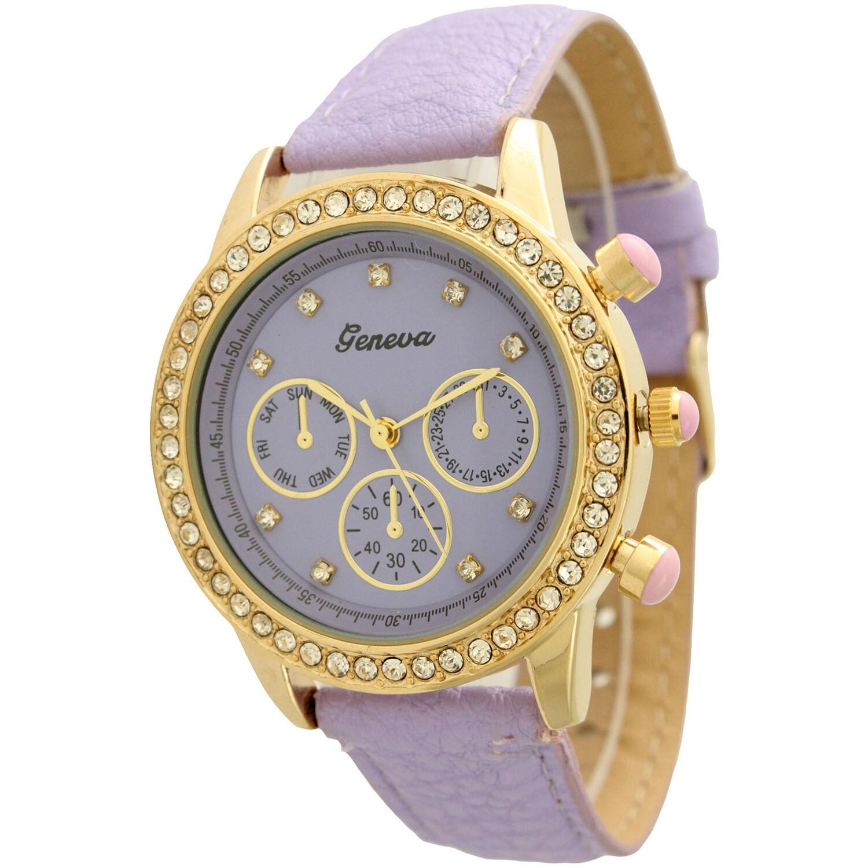 Olivia Pratt White/Purple Stainless Steel/Leather Rhinestone Watch