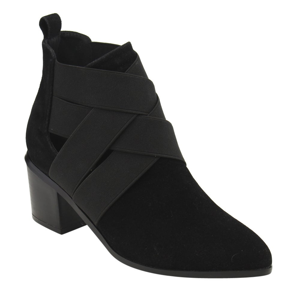 Athena Women's Solid-colored Elastic Criss Cross Strappy Ankle Booties