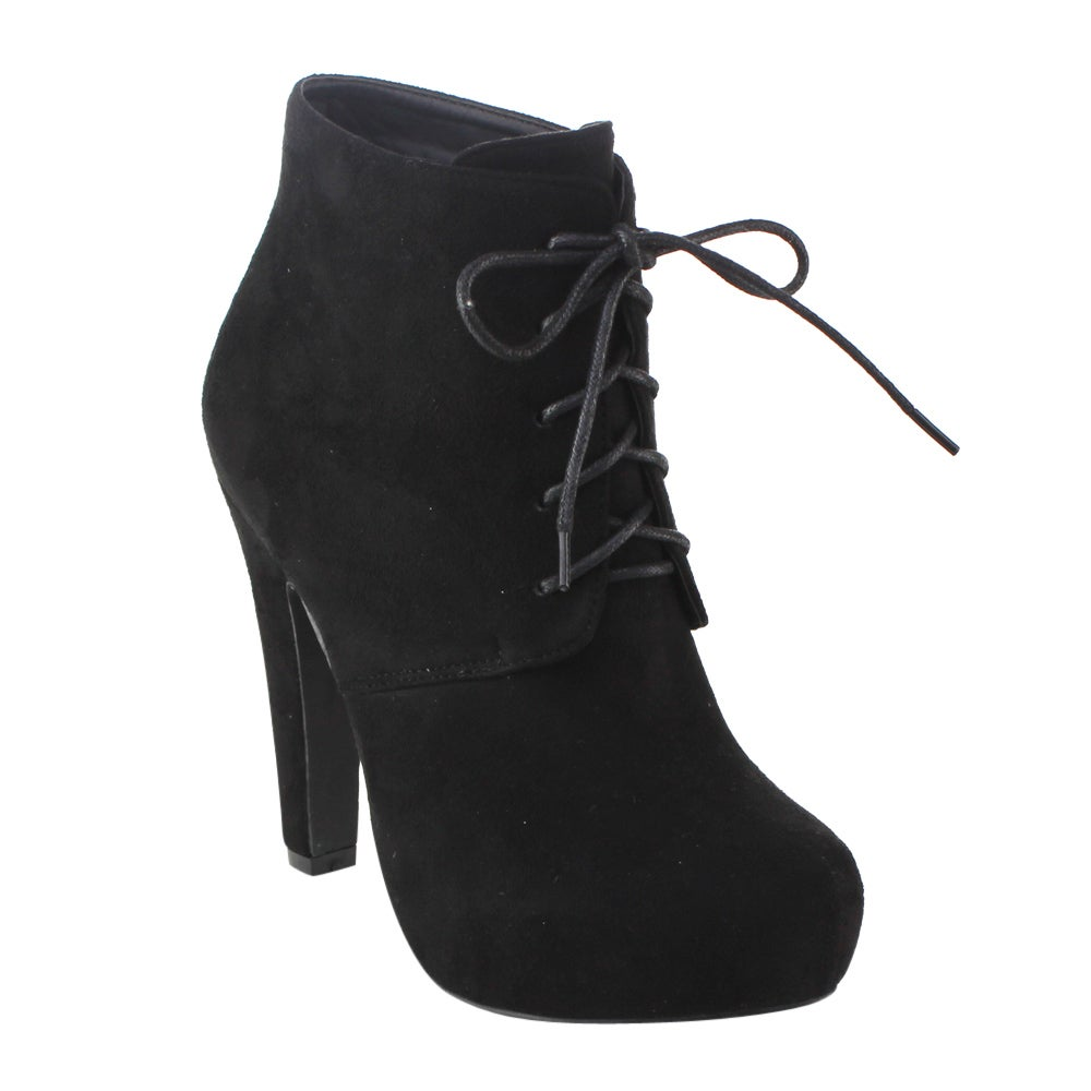 DBDK AD30 Women's Lace Up Stiletto Hidden Platform Ankle Booties