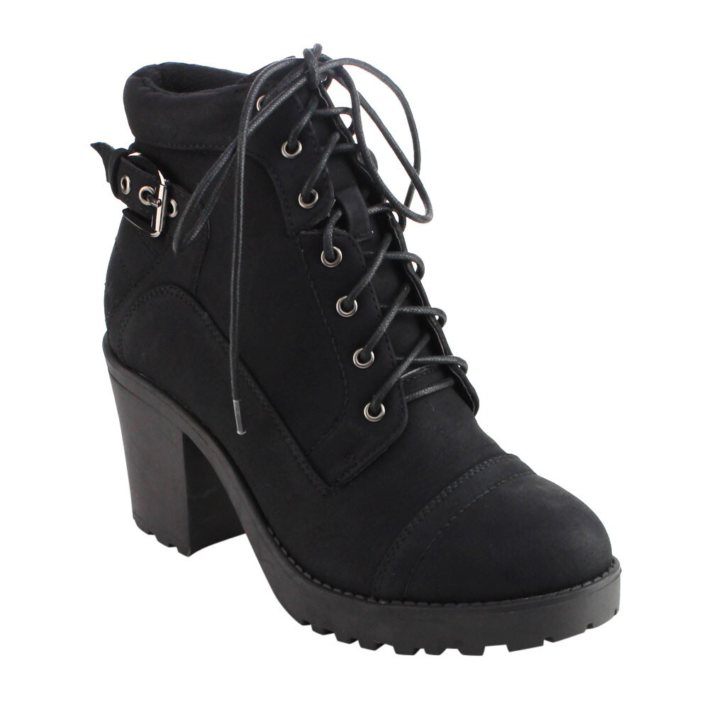 DBDK AD31 Women's Black Lace Up Buckle Lug Sole Chunky Heel Ankle Booties