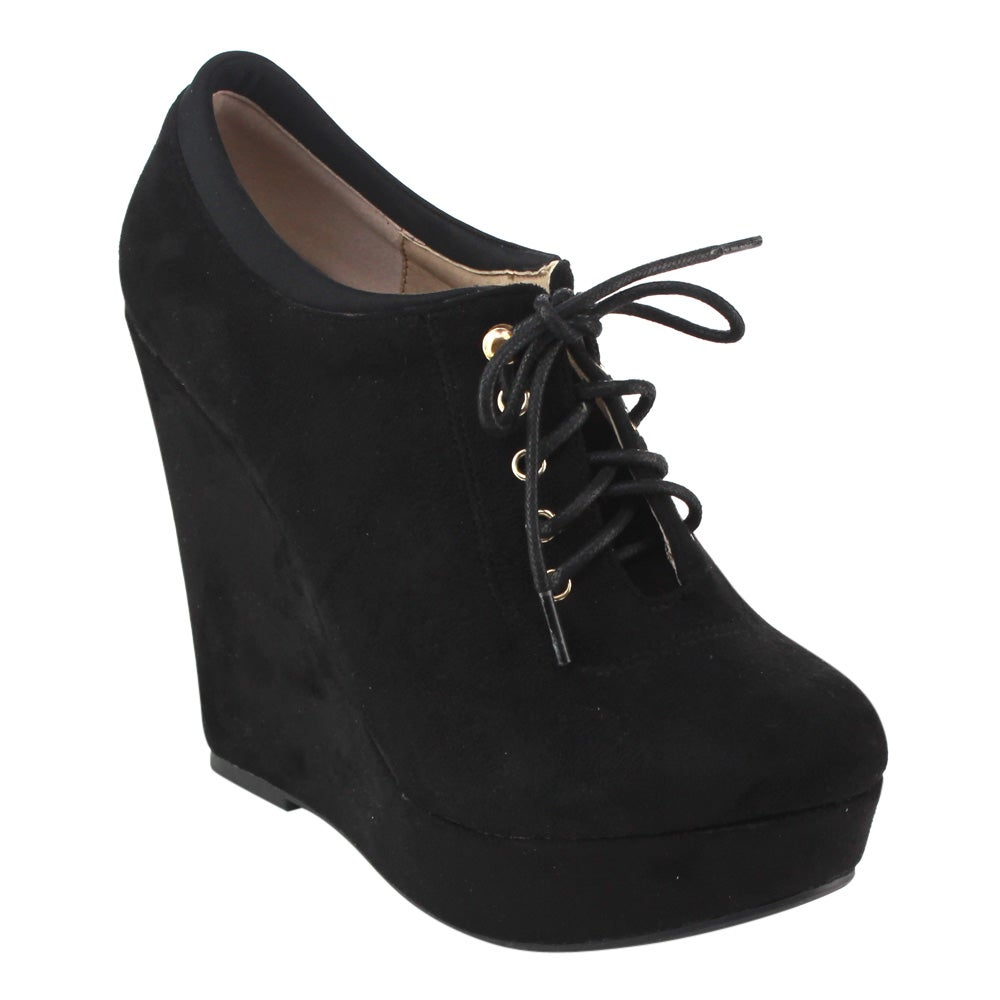DBDK AD35 Women's Lace Up Wedge Platform Ankle Booties