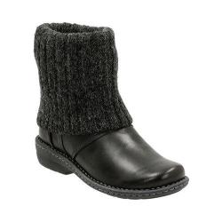 Women's Clarks Avington Style Sweater Boot Black Combination Cow Full Grain Leather/Textile