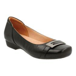 Women's Clarks Blanche West Ballet Flat Black Goat Full Grain Leather