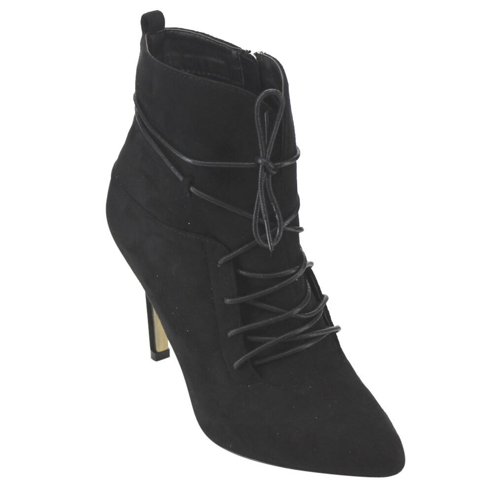 Betani FD31 Women's Lace Up Side Zip Stiletto Heel Dress Ankle Bootie