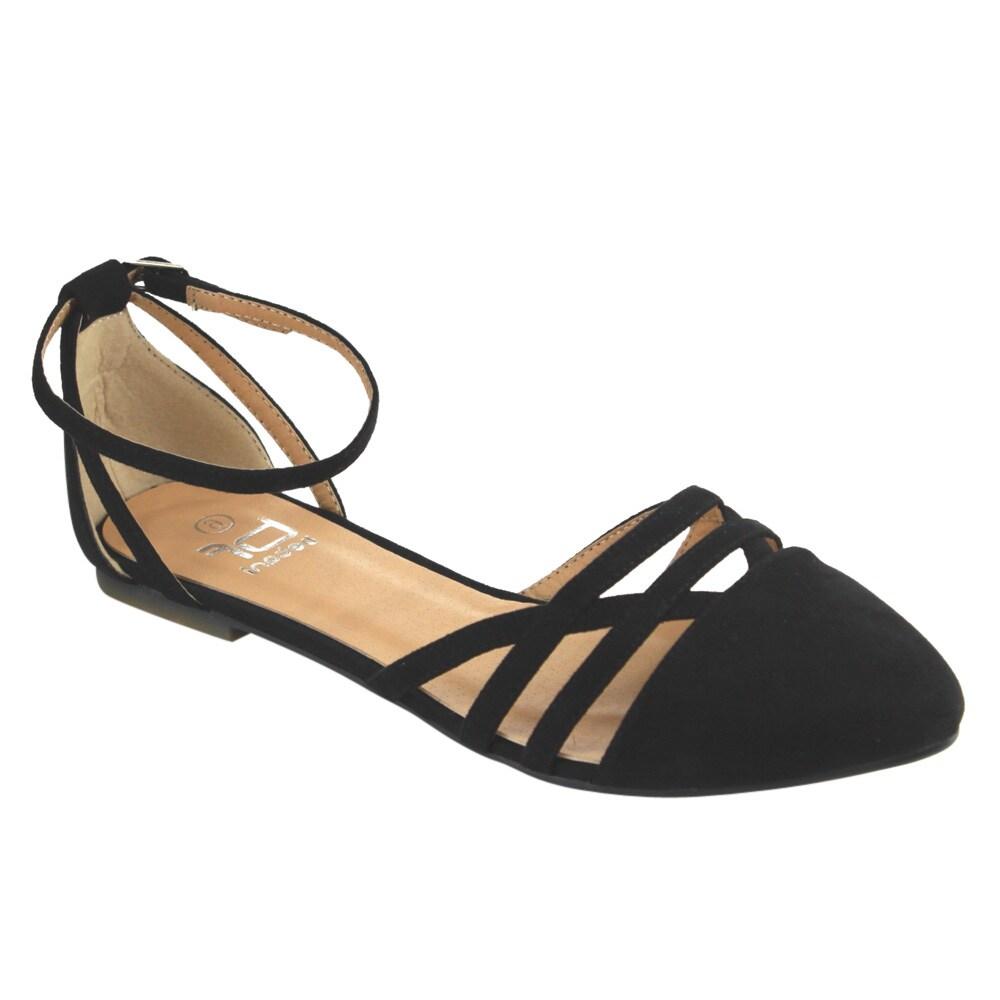 Betani Women's D'Orsay Black Faux-suede Ankle Strap Ballet Flats