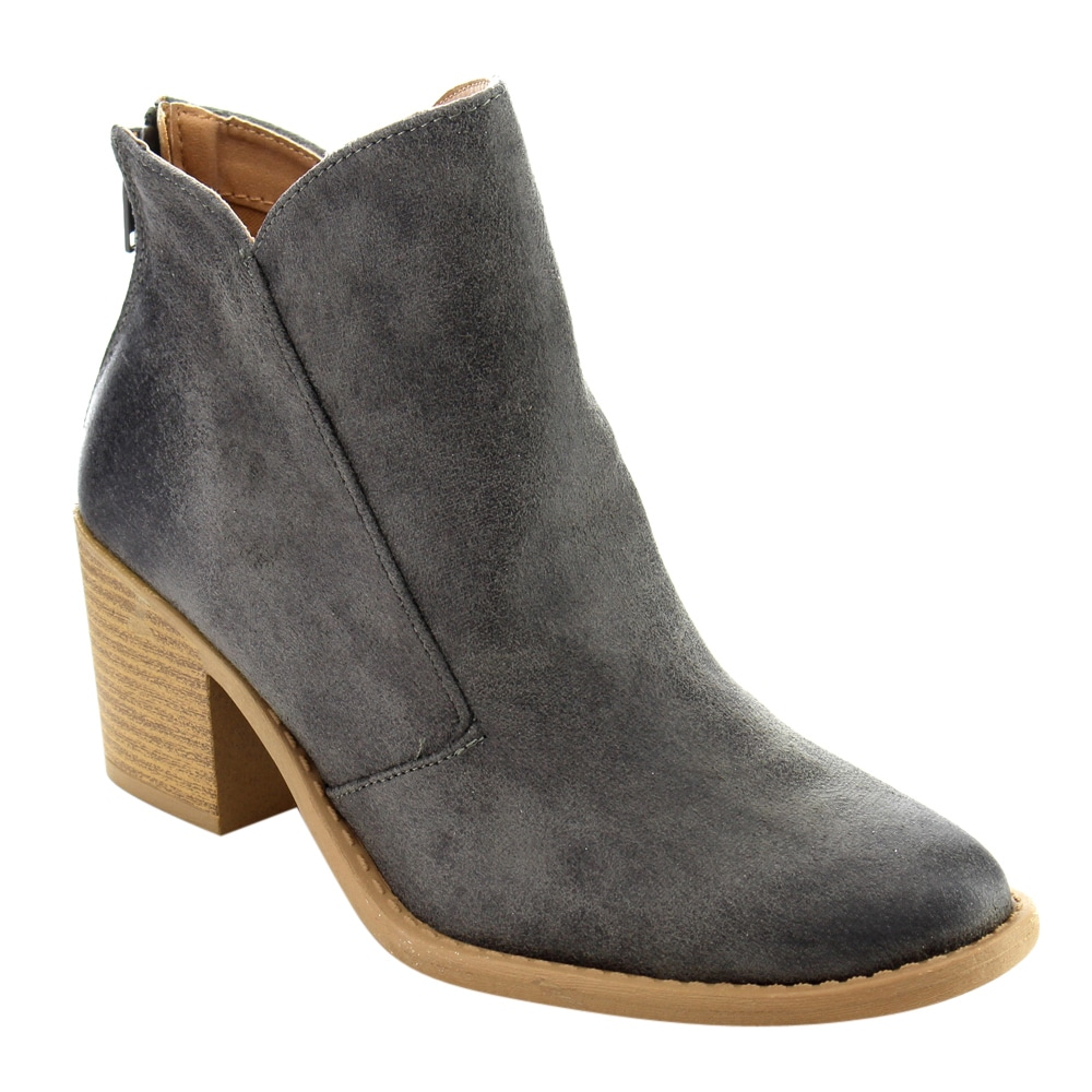 QUPID FC38 Women's Distressed Mid High Block Heel Ankle Booties