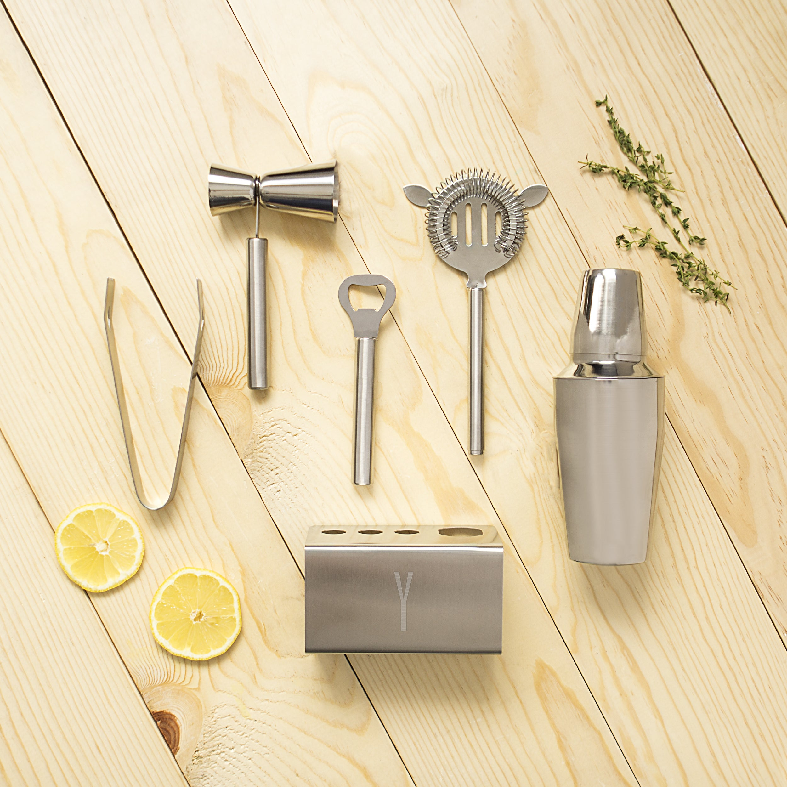 Personalized Stainless Steel Mixology Set with Cocktail Shaker