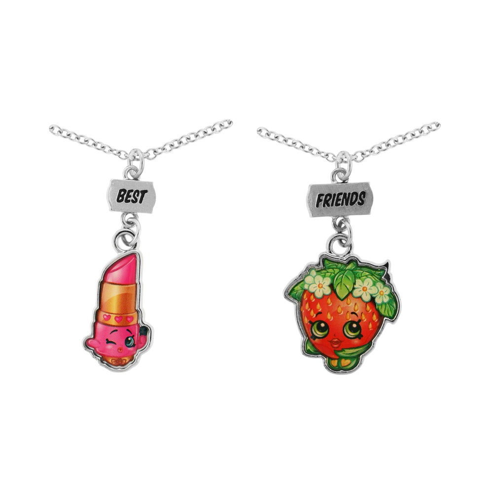 Shopkins Chidren's Best Friends Lippy Lips & Strawberry Kiss Necklace Set