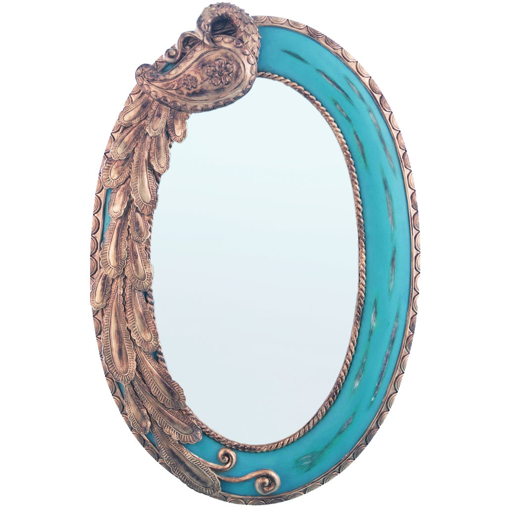 23.75-inch Oval Blue Peacock Mirror