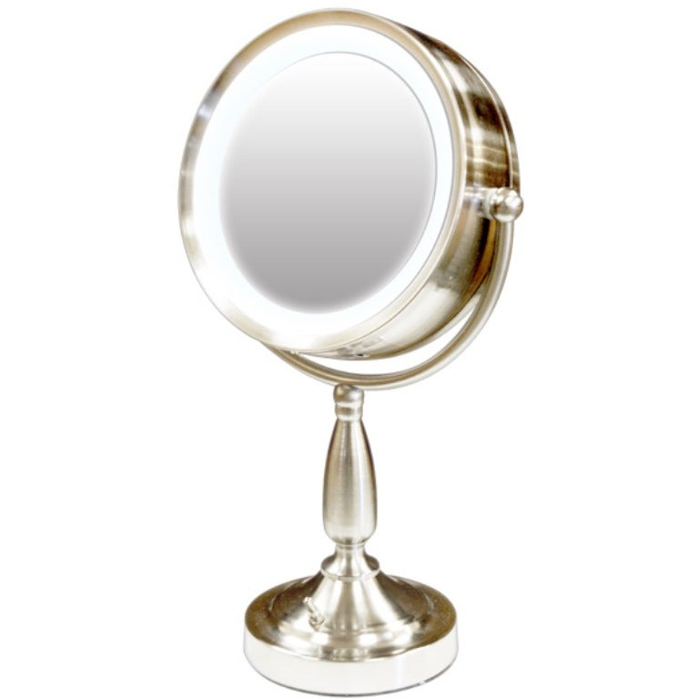 Rotating Double-sided Magnifying Mirror with Flourescent Light and Stand