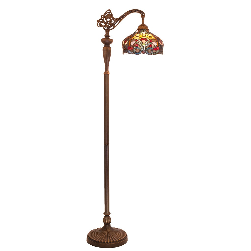 River of Goods Tiffany-style Stained-glass 59-inch-high Side Arm Floor Lamp