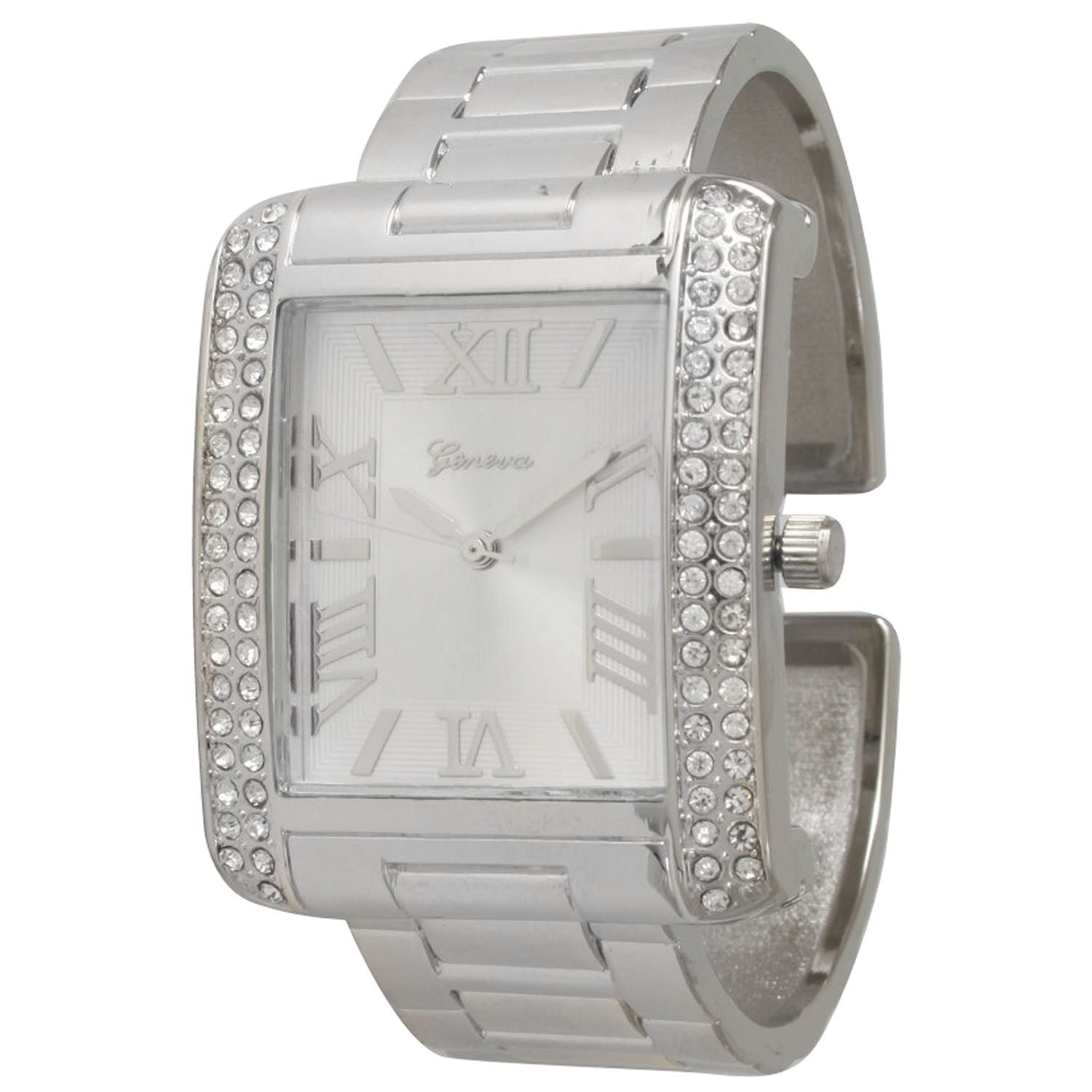 Olivia Pratt Women's Silvertone Stainless Steel Cuff Watch