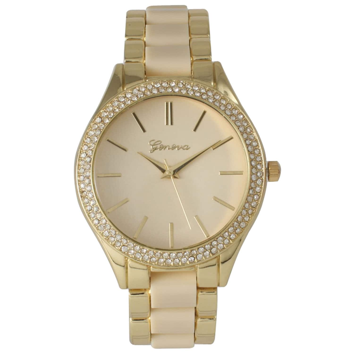 Olivia Pratt Yellow Stainless Steel Rhinestone Bezel Bracelet Watch