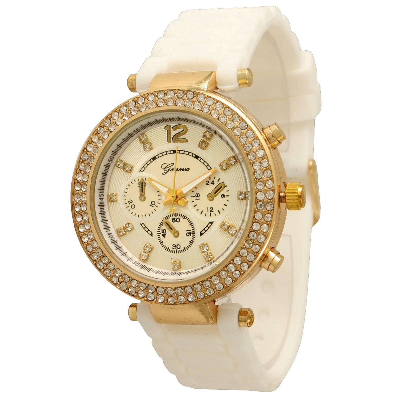 Olivia Pratt Elegant Rhinestone Silicone Band Watch