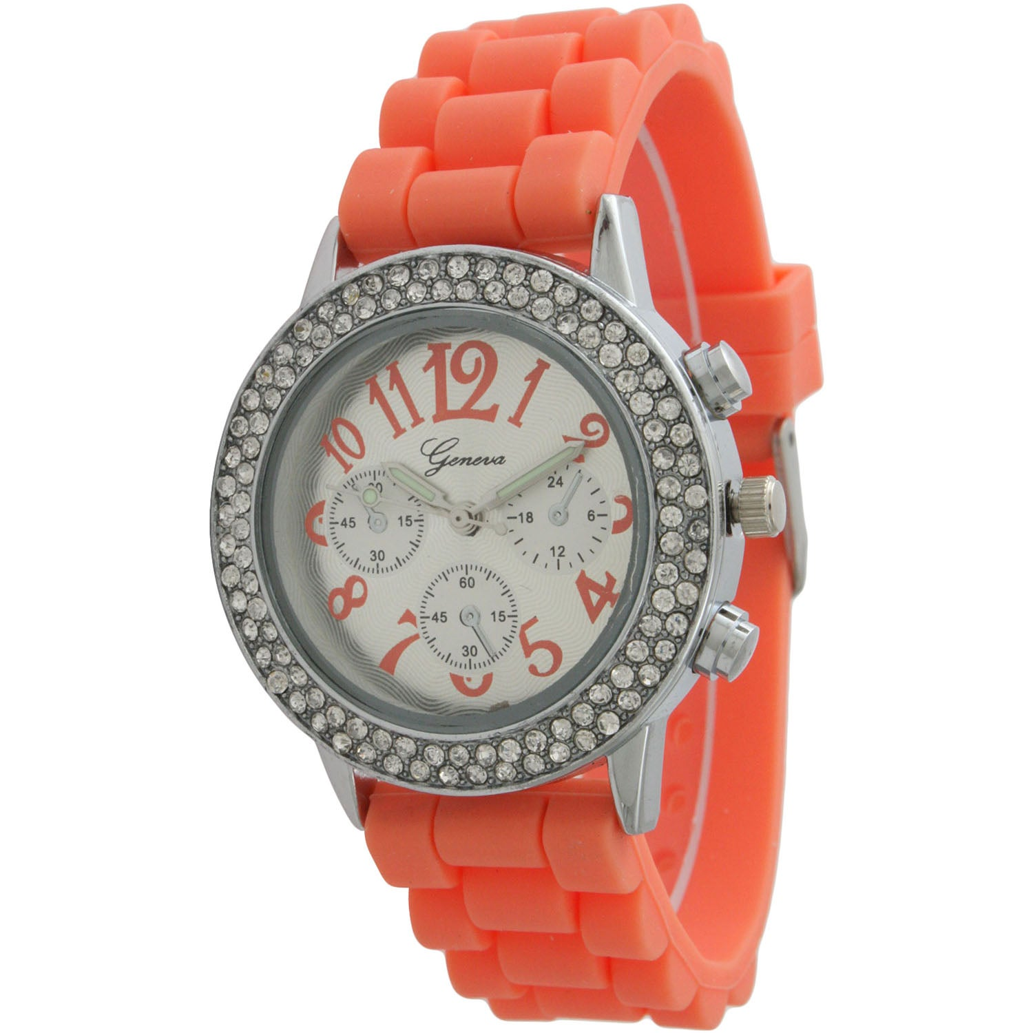 Olivia Pratt Women's Silicone Numbered Rhinestone Bezel Band Watch
