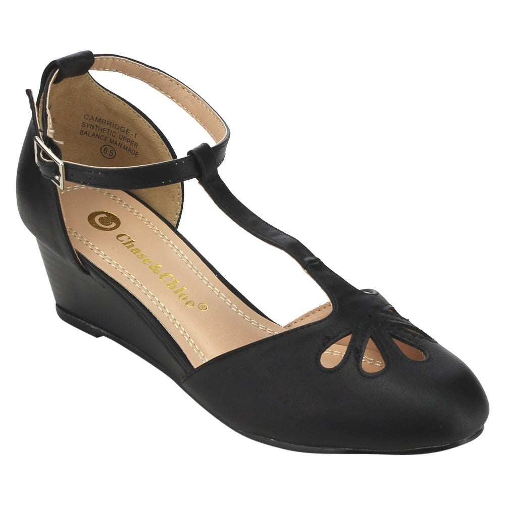 Chase & Chloe EC76 Women's Faux Leather Cut-out T-strap Ankle-wrapped Mid-wedge Pumps