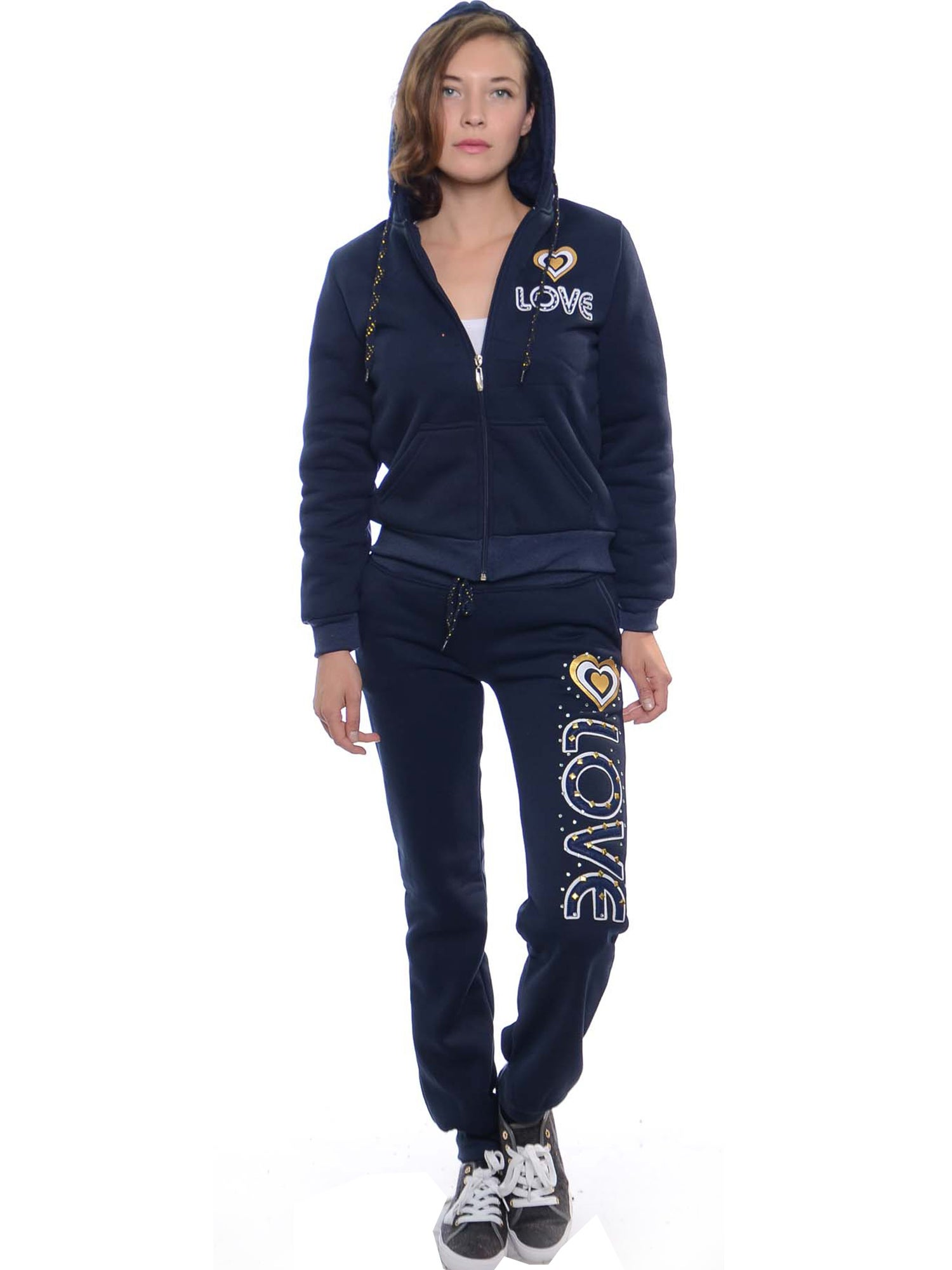 Women's 2-piece Fleece Fur-lined Set with Applique, Details and Rhinestones