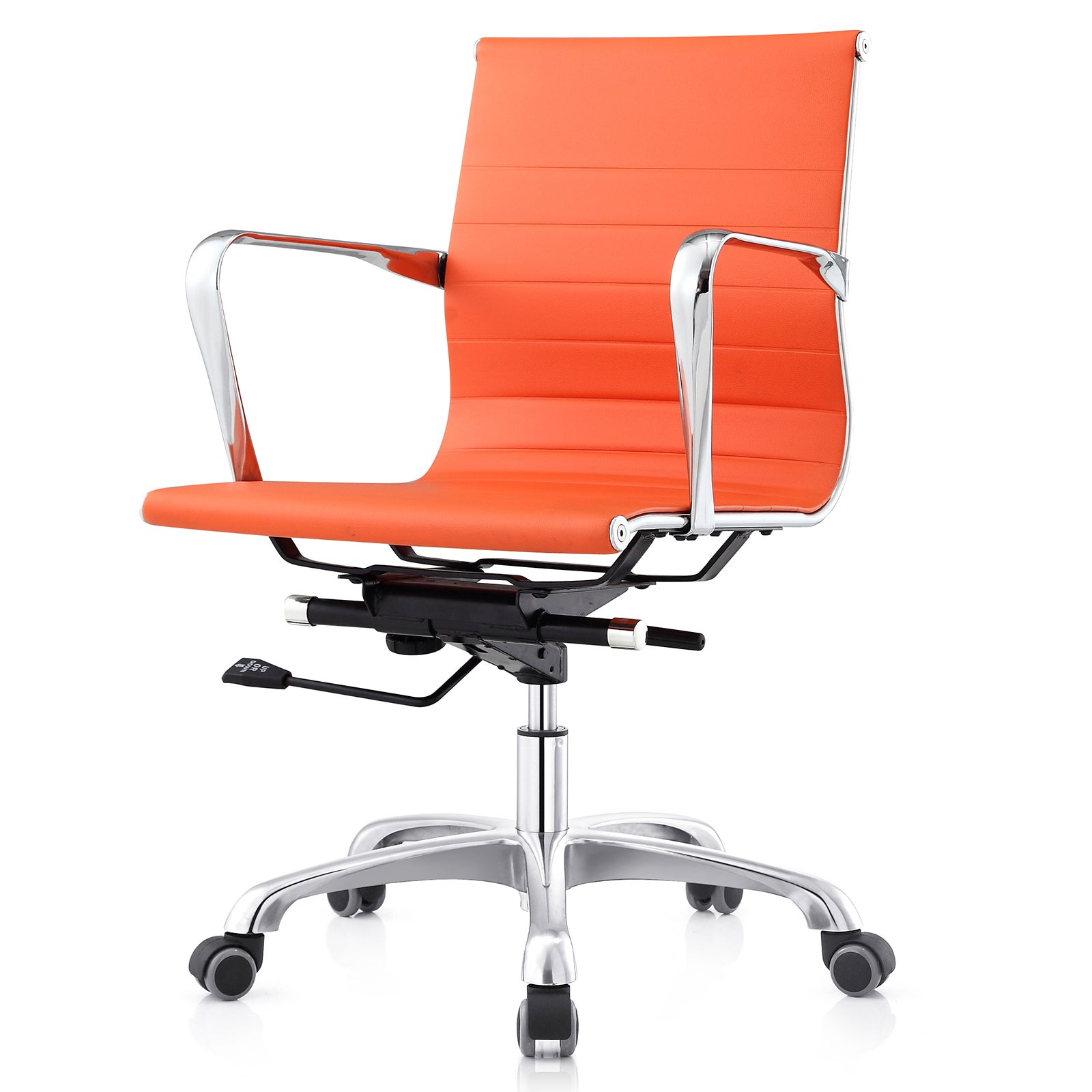mc505 orange leatherette ribbed mid back executive office chair