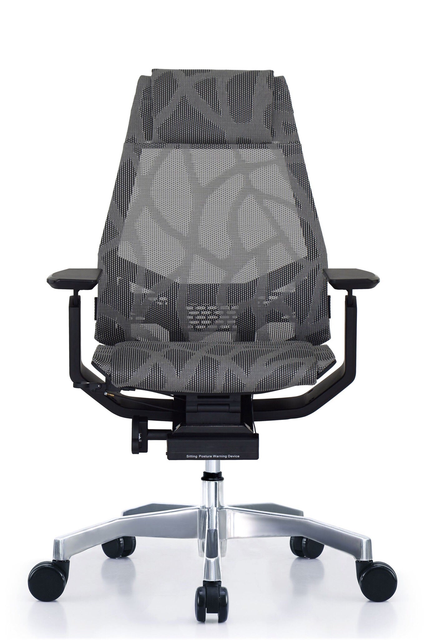 GM Seating Bodylux Smart Black/Grey Mesh Chrome Base with Headrest Genuine Leather Executive Hi Swivel Chair