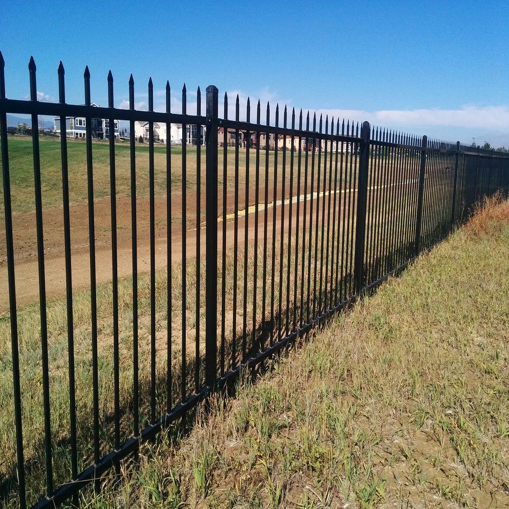 Black Steel 5-feet High x 6.5-feet Wide 2-Rail Fence Panel Kit