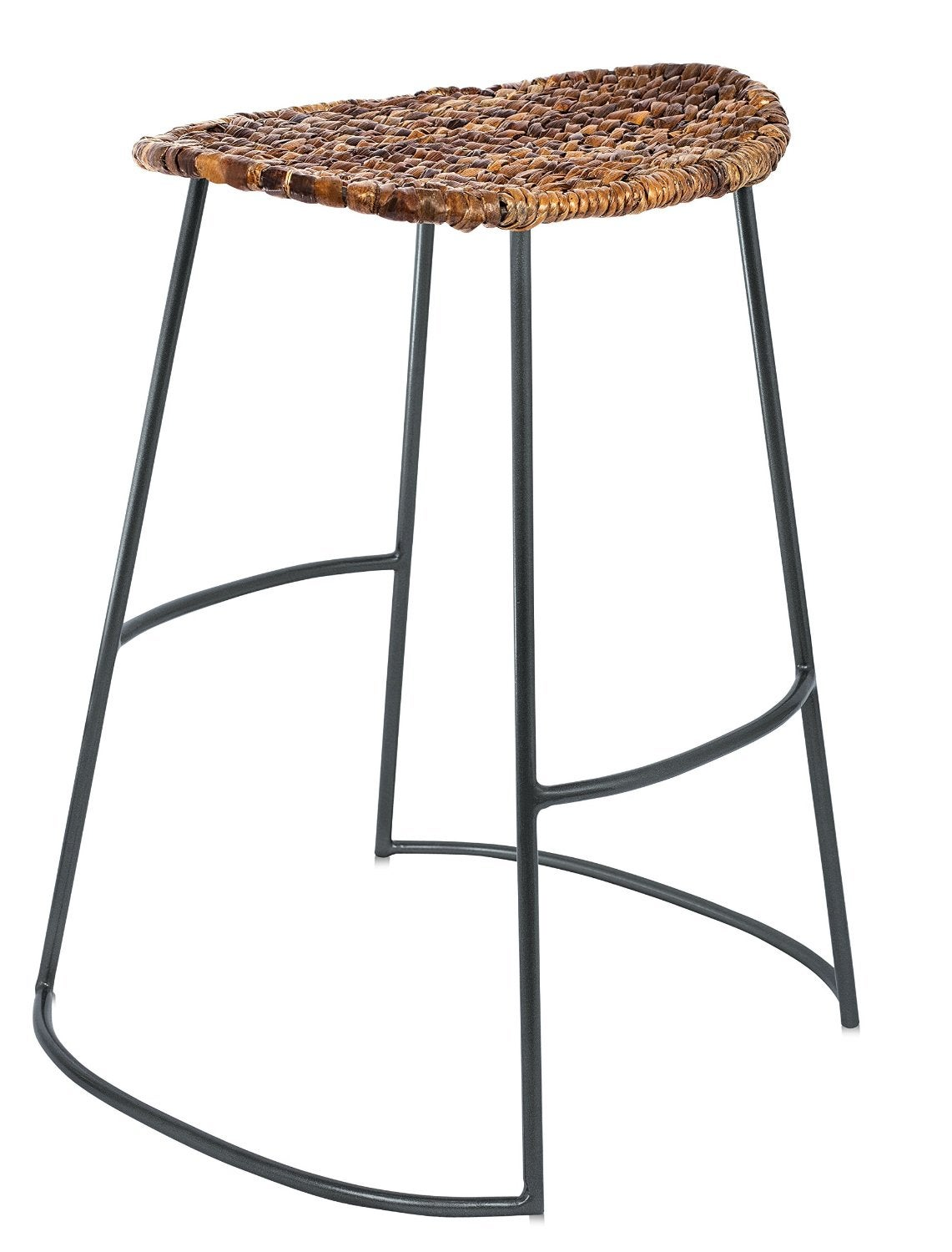 BirdRock Home Espresso Seagrass Industrial Counter Stools (Set of 2)
