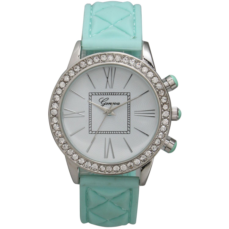 Olivia Pratt Women's Green Stainless-steel Elegant Rhinestone-accented Watch