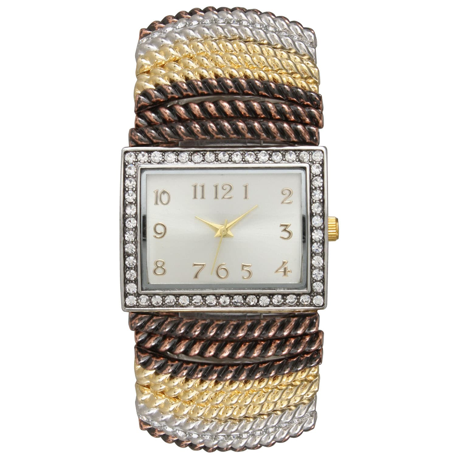Olivia Pratt Women's Rhinestone Accented Stretch Band Watch