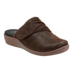 Women's Clarks Sillian Rhodes Slide Dark Brown Synthetic Nubuck
